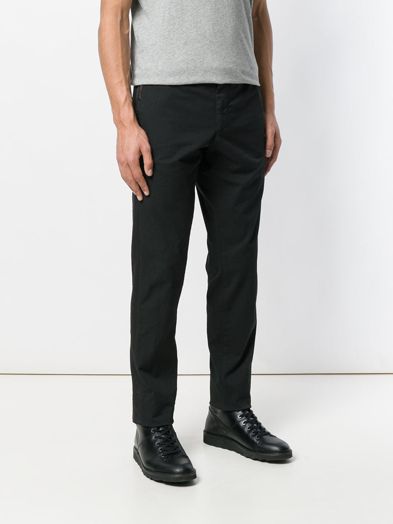 black cotton pants with black pinstripe from philipp plein