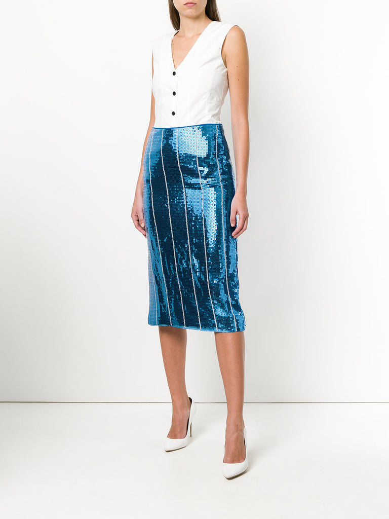 Blue stripe sequin skirt from Victoria Beckham
