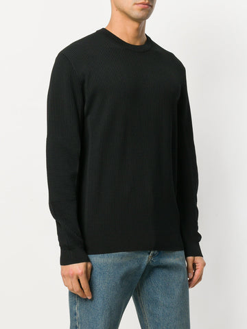 BLACK KNIT RIBBED LOGO SWEATER FROM KENZO