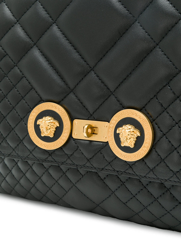 BLACK QUILT BIG BAG WITH GOLD CHAIN FROM VERSACE
