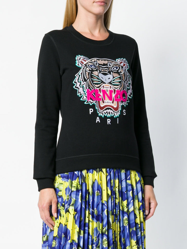 BLACK TIGER SWEAT WITH PINK KENZO LOGO