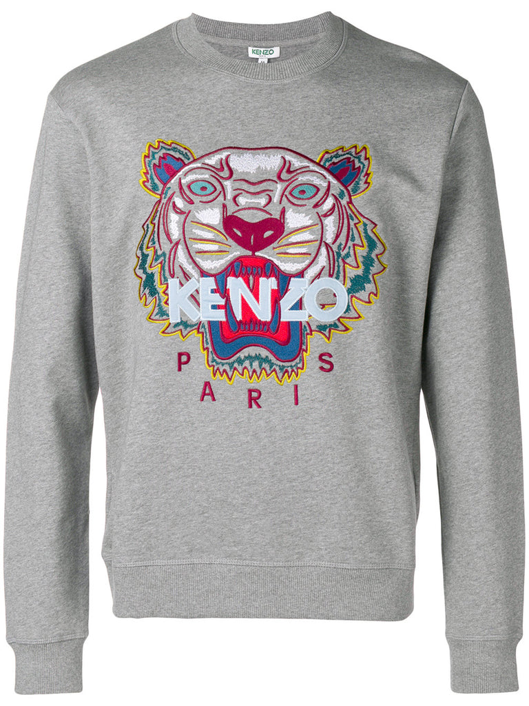 GREY TIGER SWEATSHIRT WITH LIGHT BLUE KENZO LOGO