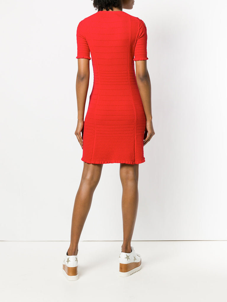 RED KNITTED DRESS WITH CUT OUT DETAIL FROM KENZO