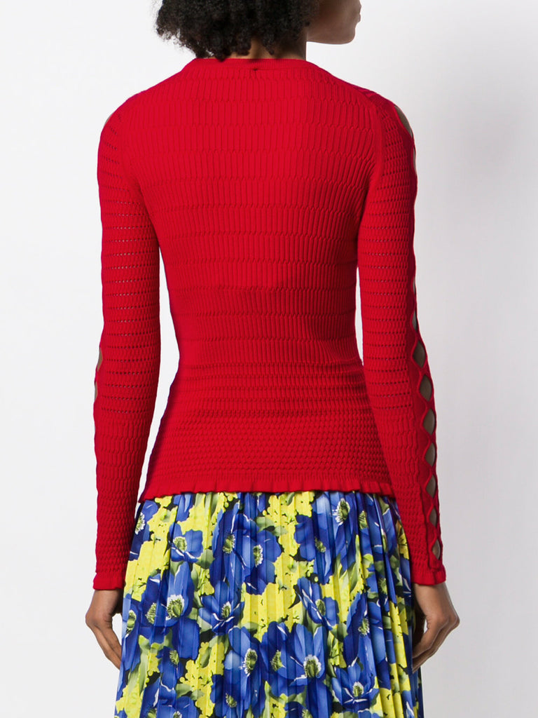 RED CUT OUT KNIT BLOUSE  FROM KENZO