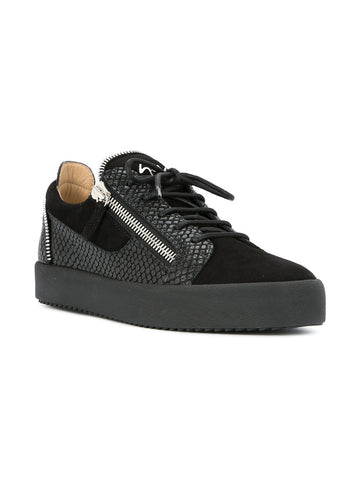 black low suede and croc sneaker with silver zip from giuseppe zanotti
