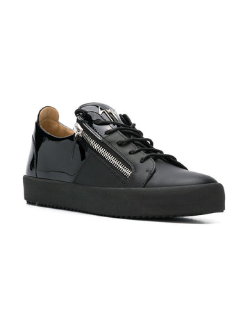 BLACK LOW SNEAKER WITH PATENT AND SILVER LOGO FROM GIUSEPPE ZANOTTI