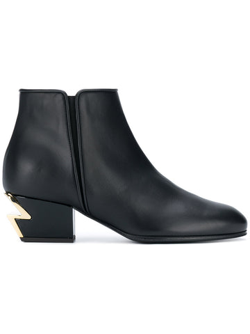 BLACK BOOT WITH ICON ZIG ZAG GOLD HEEL FROM GIUSEPPE ZANOTTI