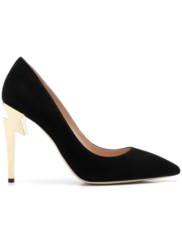 BLACK SUEDE STILETTO WITH GOLD ZIG ZAG HEEL FROM GIUSEPPE ZANOTTI