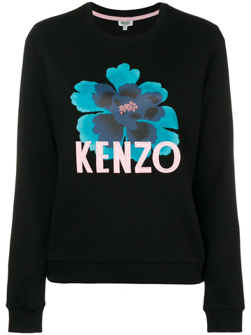 BLACK SWEAT WITH TURQUISE BIG FLOWER FROM KENZO