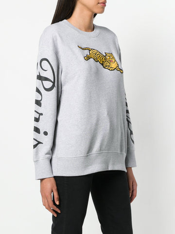 LIGHT GREY JUMPING TIGER SWEATSHIRT FROM KENZO
