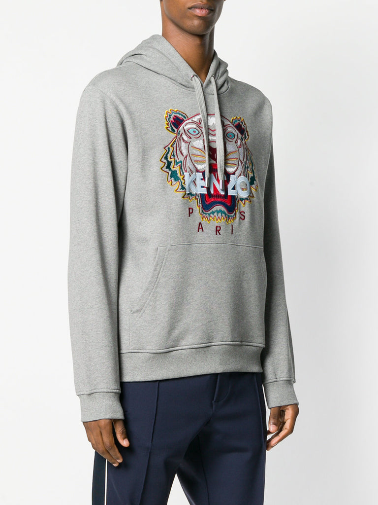 GREY HOODIE SWEATSHIRT WITH LIGHT BLUE LOGO FROM KENZO