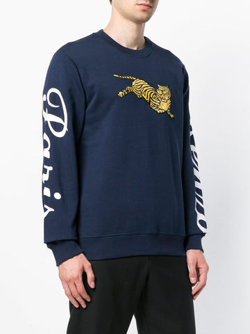 NAVY JUMPING TIGER SWEAT WITH LOGO ON THE SLEEVES FROM KENZO