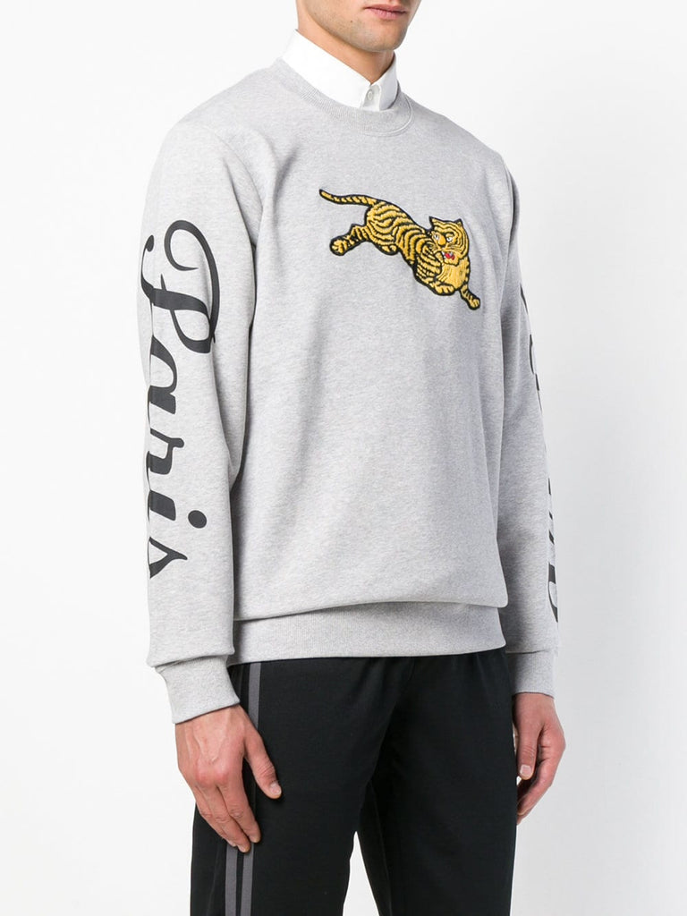 GREY JUMPING TIGER SWEAT WITH LOGO ON SLEEVES FROM KENZO
