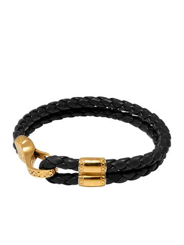 BLACK LEATHER BRACELET WITH GOLD HOOK FROM NIALAYA