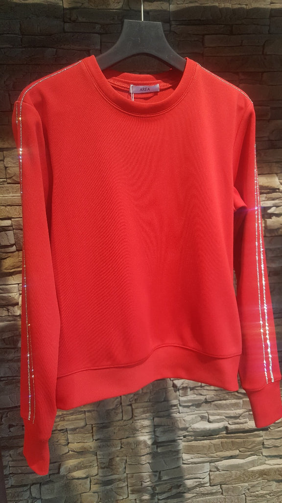 Red sweatshirt with swarowsky stones from area