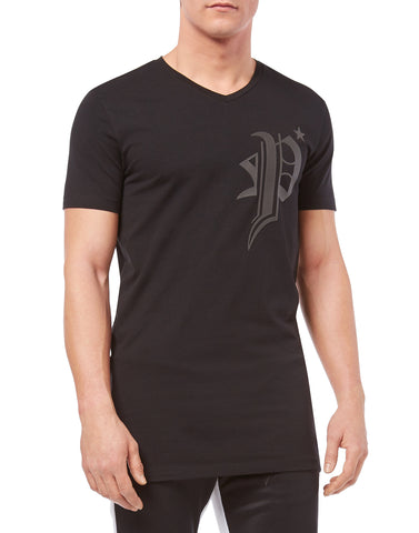 BLACK TSHIRT WITH P LOGO AND GOTIC BAG FROM PHILIPP PLEIN
