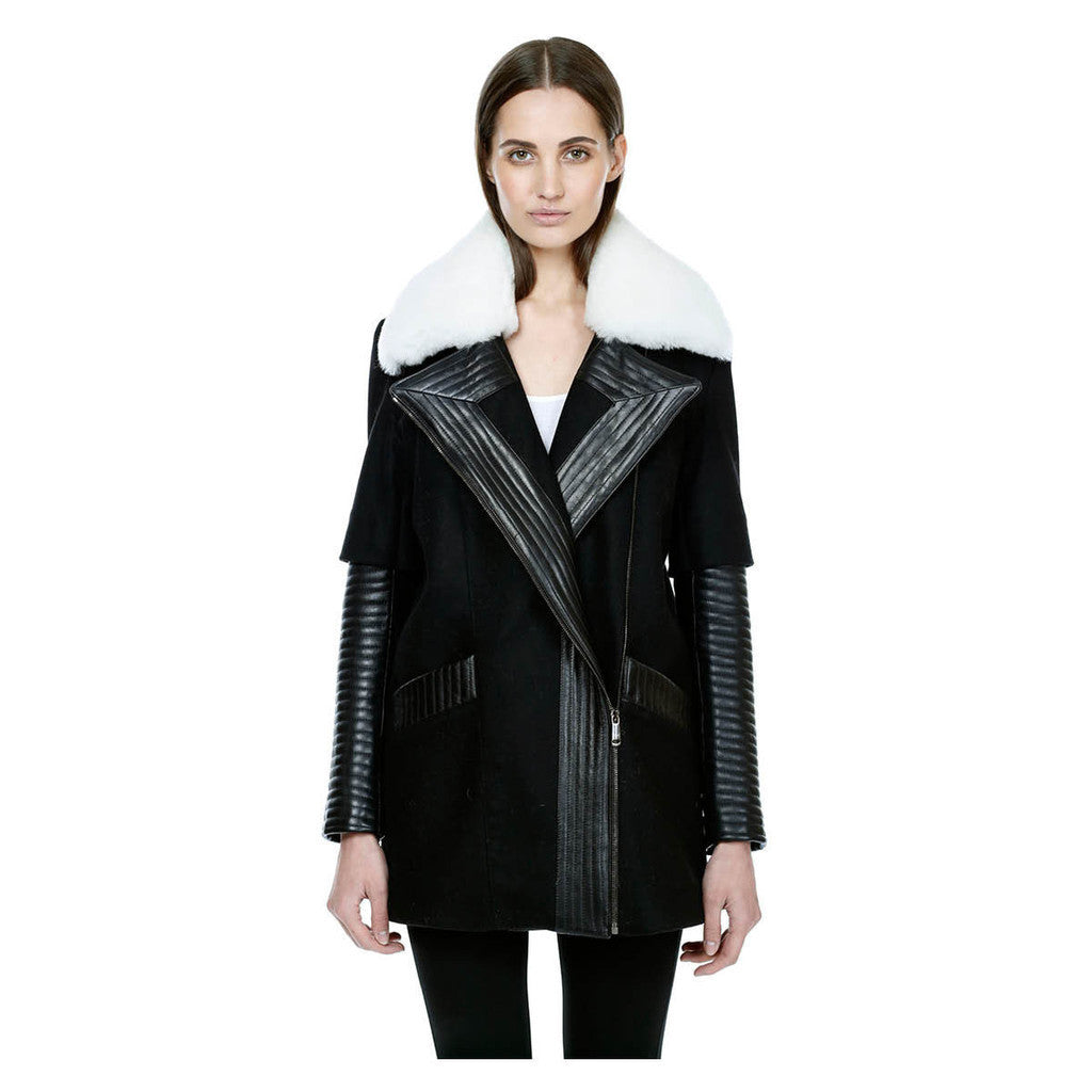 Motorcycle style wool coat with double sleeve leather quilting and shearling collar