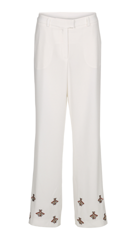 WHITE PANTS WITH BEE EMBRODERI FROM BIRGITTE HERSKIND
