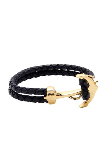 BLACK LEATHER BRACELET WITH GOLD ANCHOR FROM NIALAYA