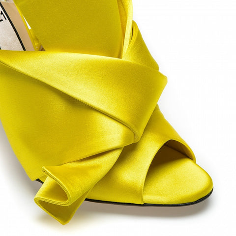 Yellow satin bow mules