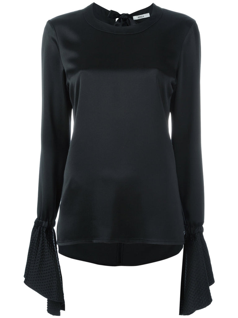 Black flared sleeves blouse