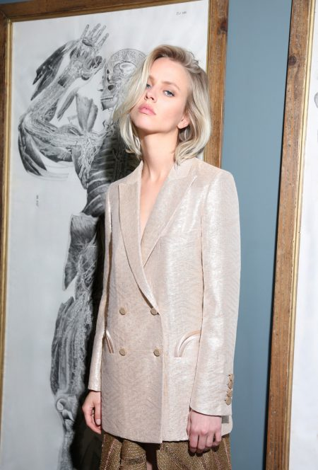 Nude gold thread blazer