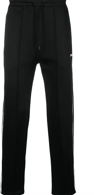 BLACK TRACK PANTS WITH WHITE KENZO LOGO