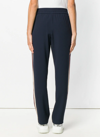 navy trackpants with off white and wine stripe from kenzo