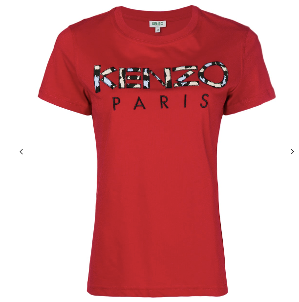 Kenzo T-shirt Red with Patchwork Logo