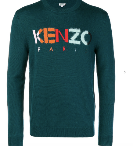 Kenzo Long Sleeve Green Knit wear with Multi Colour Logo