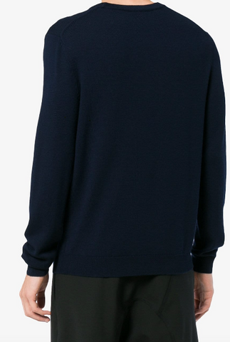 Kenzo Long Sleeve Navy Blue with Knit Multi Colour Logo