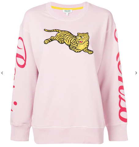 Kenzo Light Pink Jumping Tiger Sweat with Logo on Sleeves