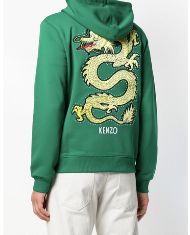 Kenzo Green Track Jacket Hoodie with Dragon on the Back