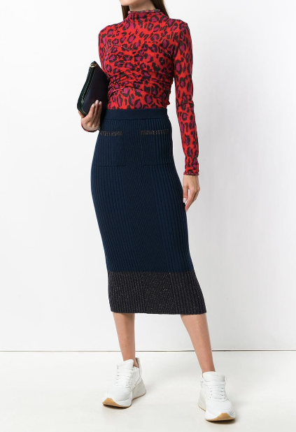 NAVY BLUE KNITTED SKIRT WITH METALLIC DETAILS FROM KENZO
