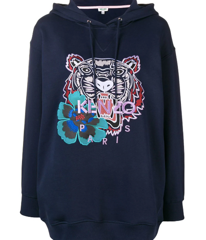 Kenzo Hoodie Blue Navy Sweat Tiger Flower