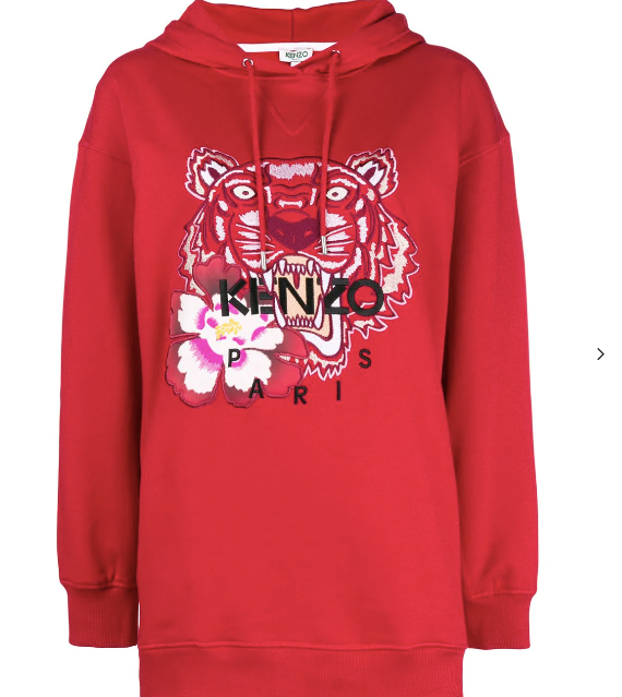 Kenzo Hoodie Red Sweat Tiger Flower