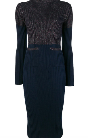 NAVY BLUE METALLIC KNIT DRESS WITH POCKETS FROM KENZO