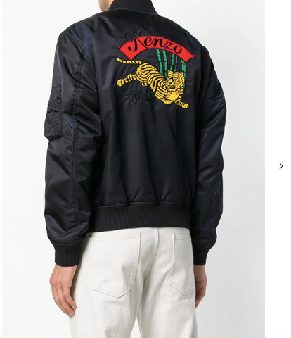 NAVY BLUE JUMPING TIGER BOMBER JACKET FROM KENZO