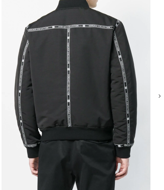 black bomber jacket  with logo band from versace