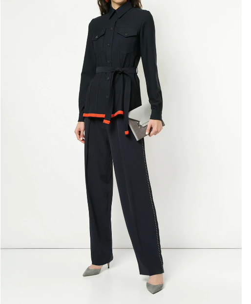 NAVY BLUE PANTS WITH STUDS FROM VICTORIA BECKHAM