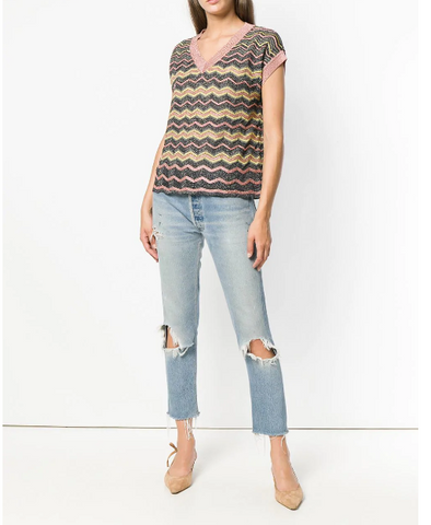 MULTI COLOUR BLOUSE ZIG ZAG IN ROSE GOLD YELLOW  FROM MISSONI