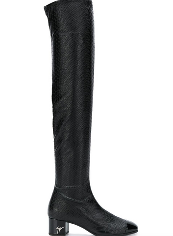 BLACK OVER KNEE BOOT SNAKE LOOK FROM GIUSEPPE ZANOTTI