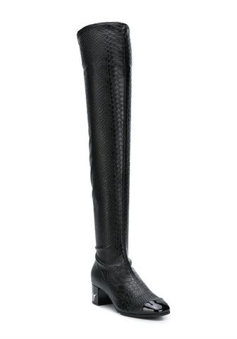 black overknee boot with croc look from giuseppe  zanotti