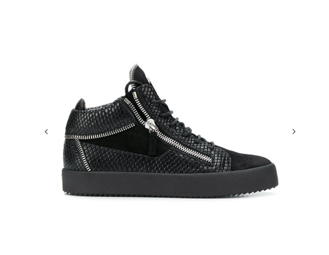 BLACK MIDHIGHT SNEAKERS WITH SNAKE AND ZIP DETAILS FROM GIUSEPPE ZANOTTI