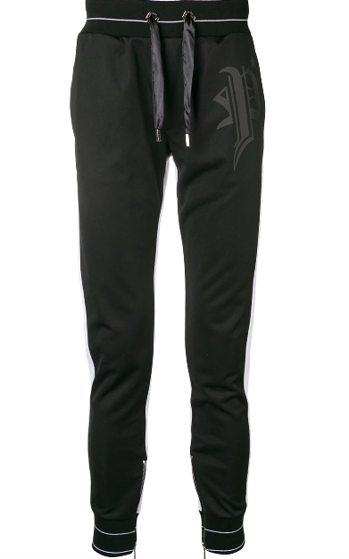 BLACK TRACK PANTS WITH WHITE STRIPE FROM PHILIPP PLEIN