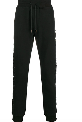 BLACK TRACK PANTS WITH GOTIC LETTERS FROM PHILIPP PLEIN