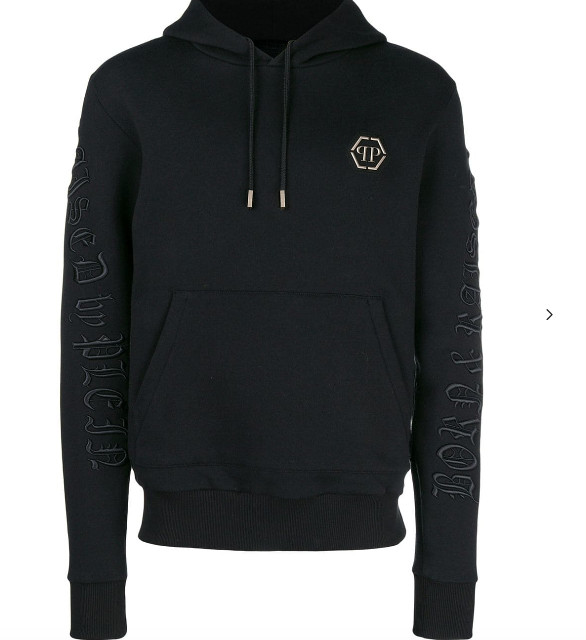 BLACK HOODIE WITH GOTIC LETTERS FROM PHILIPP PLEIN