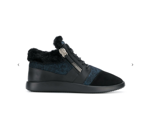 BLACK AND BLUE RUNNER WITH FUR FROM GIUSEPPE ZANOTTI