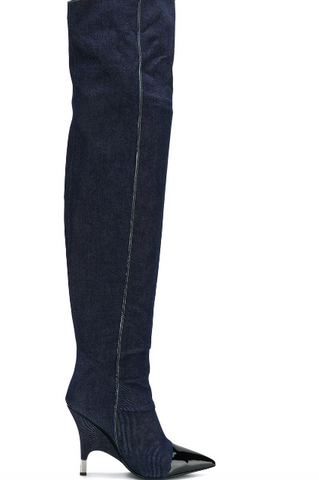 BLUE JEANS BOOTS OVER KNEE WITH PATENT FROM GIUSEPPE ZANOTTI