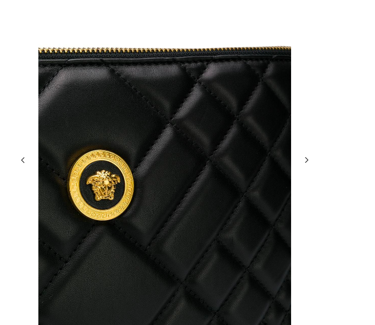 BLACK QUILT CLUTCH BAG FROM VERSACE